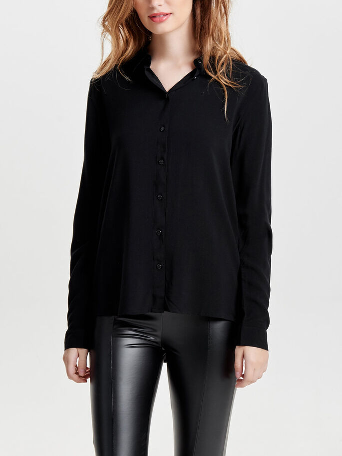 SOLID LONG SLEEVED SHIRT, Black, large