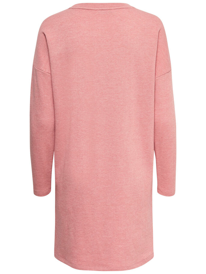 SWEAT LONG SLEEVED DRESS, Rose Smoke, large