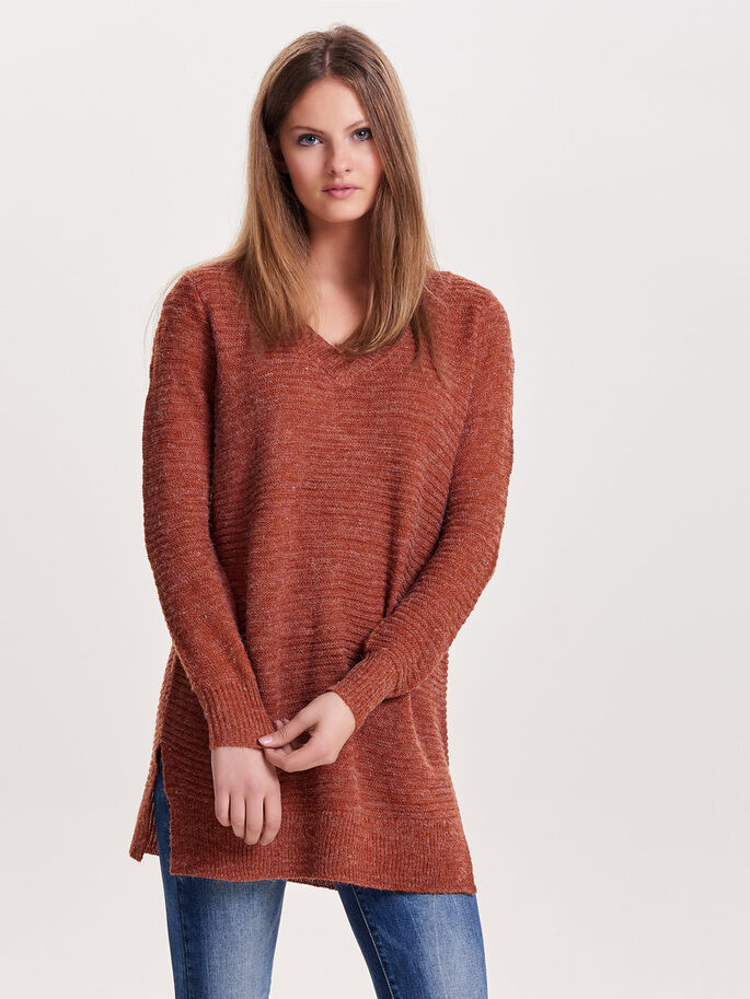 LONG KNITTED PULLOVER, Arabian Spice, large