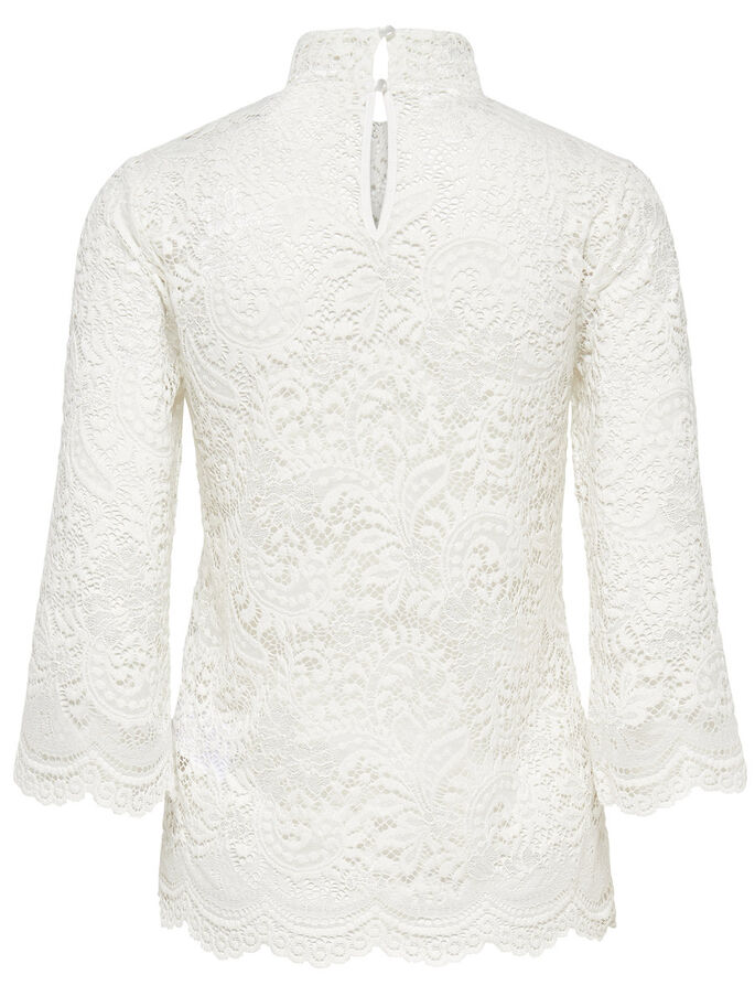 LACE 3/4 SLEEVED TOP, Cloud Dancer, large