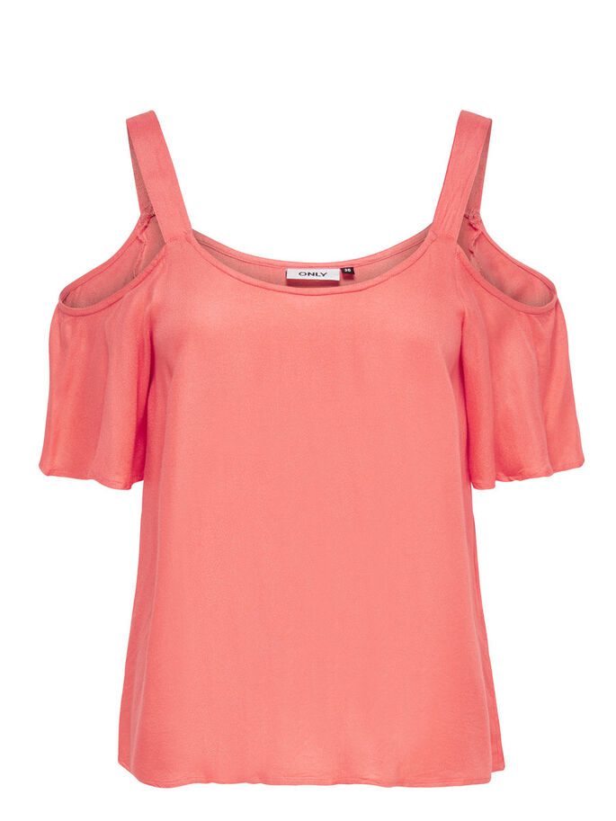 COLD SHOULDER SHORT SLEEVED TOP, Coral, large
