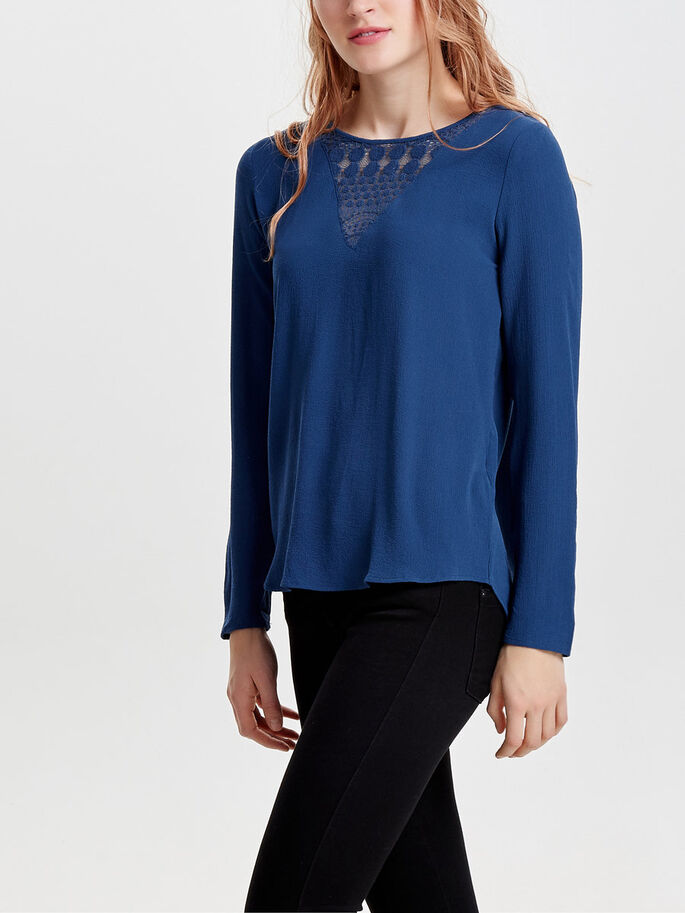 LACE LONG SLEEVED TOP, Ensign Blue, large
