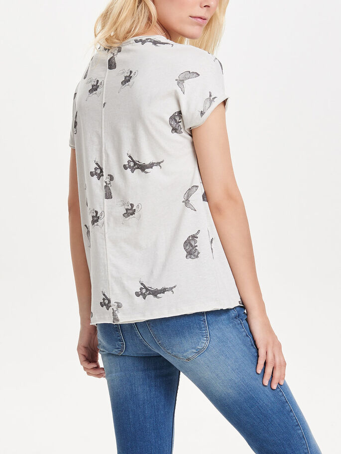 PRINT TOP MET KORTE MOUWEN, Whitecap Gray, large