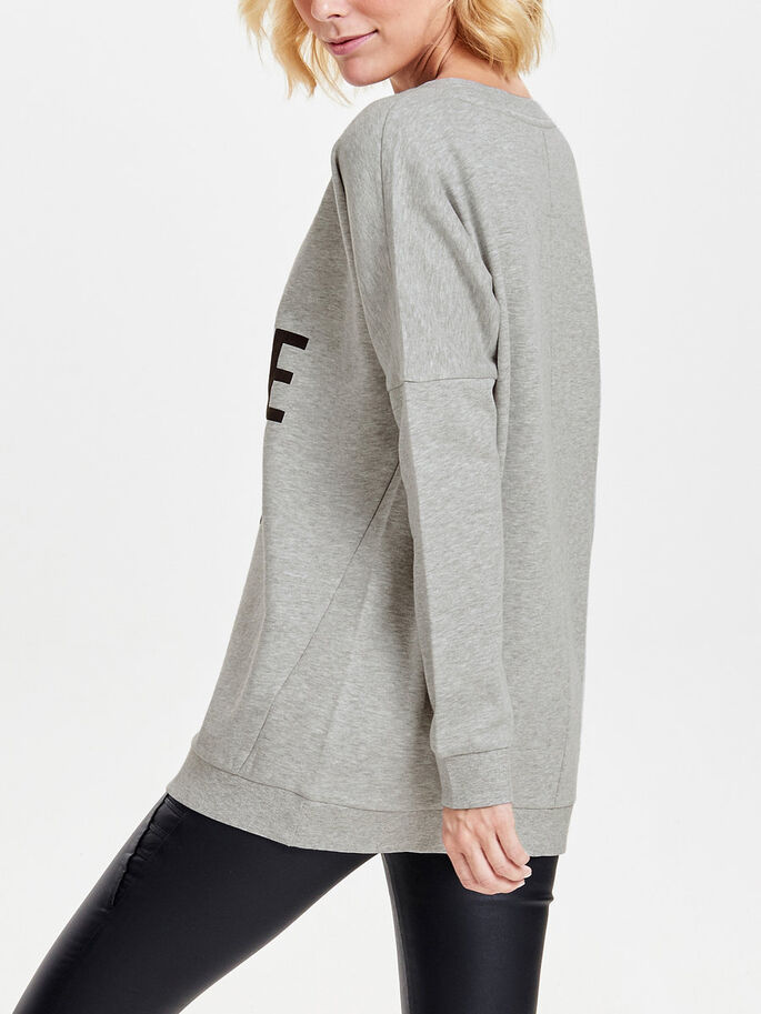 LØS PRINTET SWEATSHIRT, Light Grey Melange, large