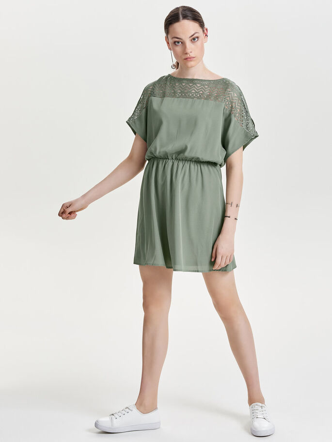 LACE SHORT SLEEVED DRESS, Agave Green, large