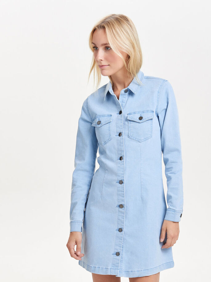 LANGÄRMELIGES JEANSKLEID, Light Blue Denim, large