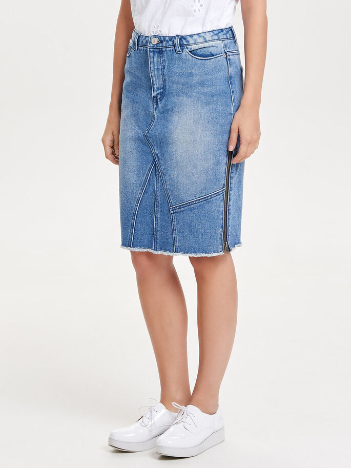 PENCIL DENIM SKIRT, Medium Blue Denim, large