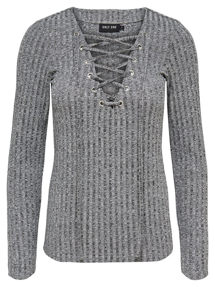 LACE-UP LONG SLEEVED TOP, Dark Grey Melange, large