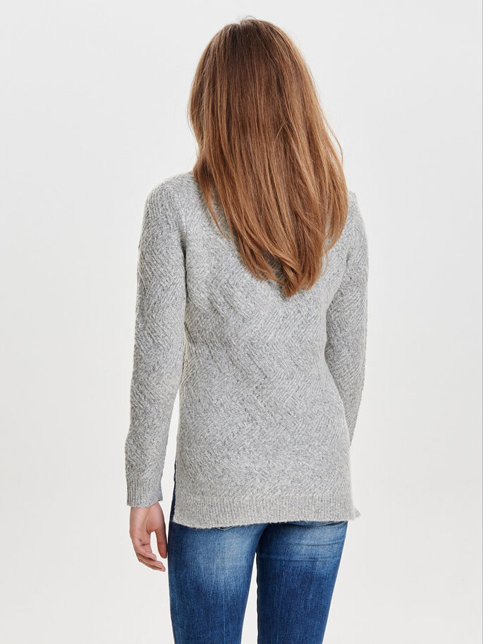 LOOSE KNITTED PULLOVER, Light Grey Melange, large