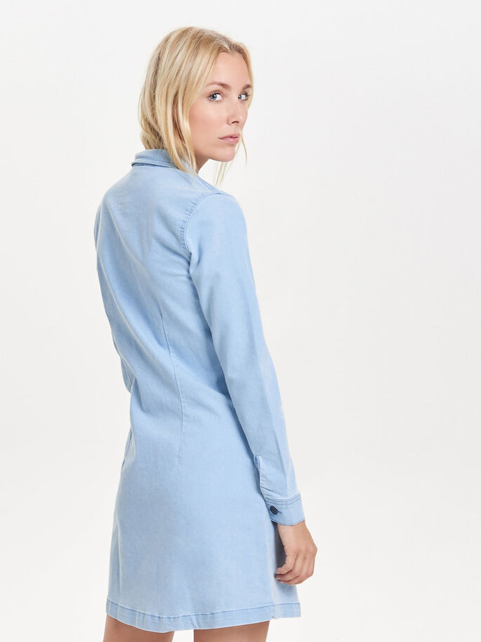 LONG SLEEVED DENIM DRESS, Light Blue Denim, large