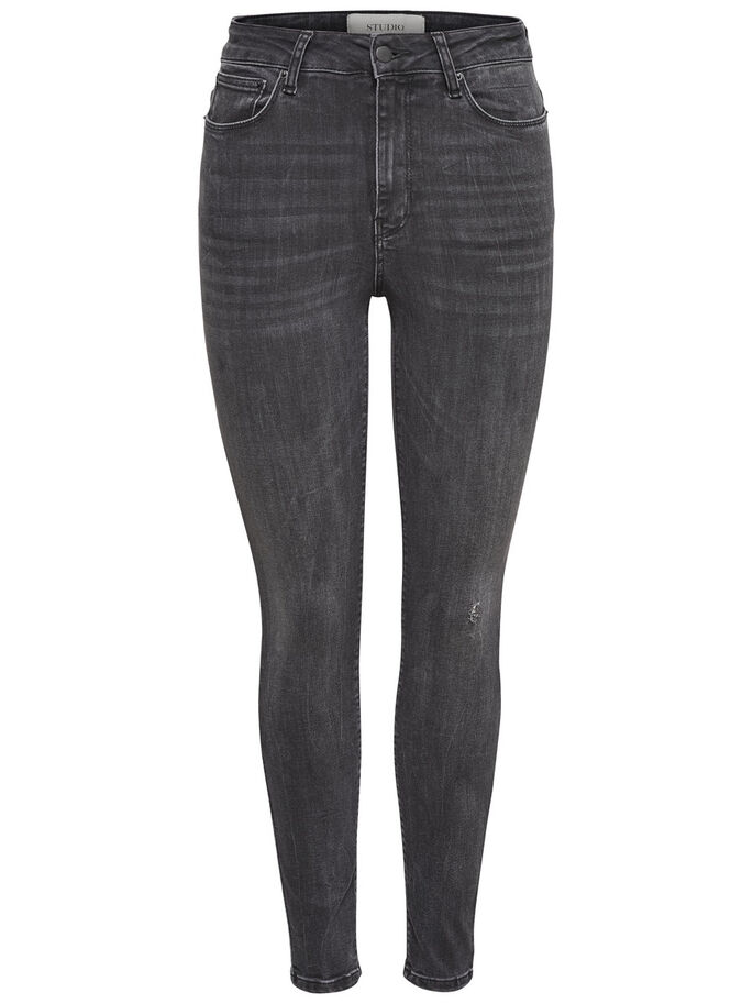 STUDIO1 HIGH WAIST ANKLE SKINNY FIT JEANS, Black Denim, large