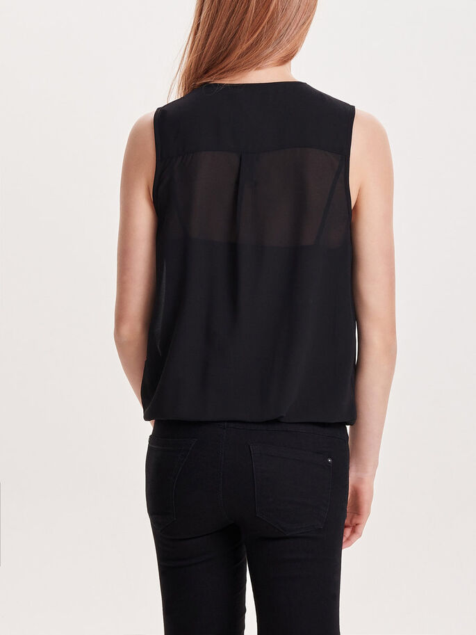WRAP SLEEVELESS TOP, Black, large