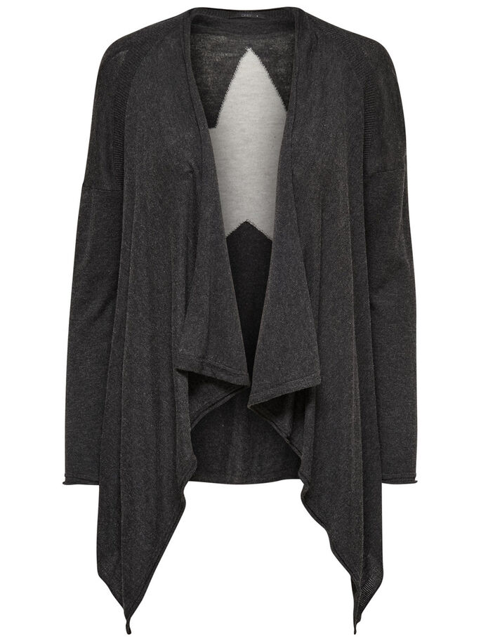 DRAPIERTER STRICK-CARDIGAN, Dark Grey Melange, large