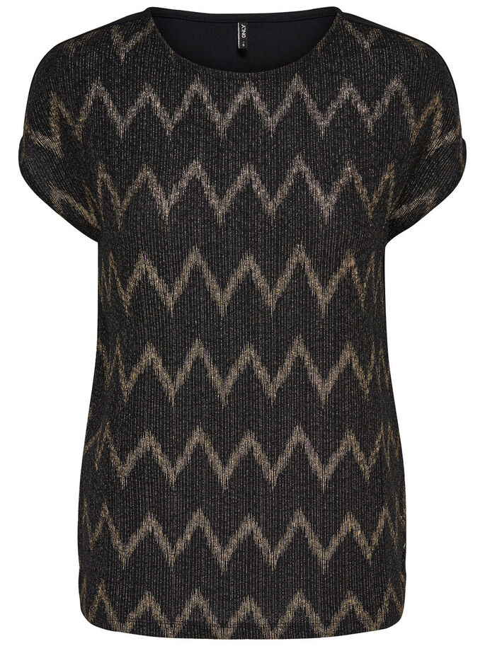 PATTERNED SHORT SLEEVED TOP, Black, large