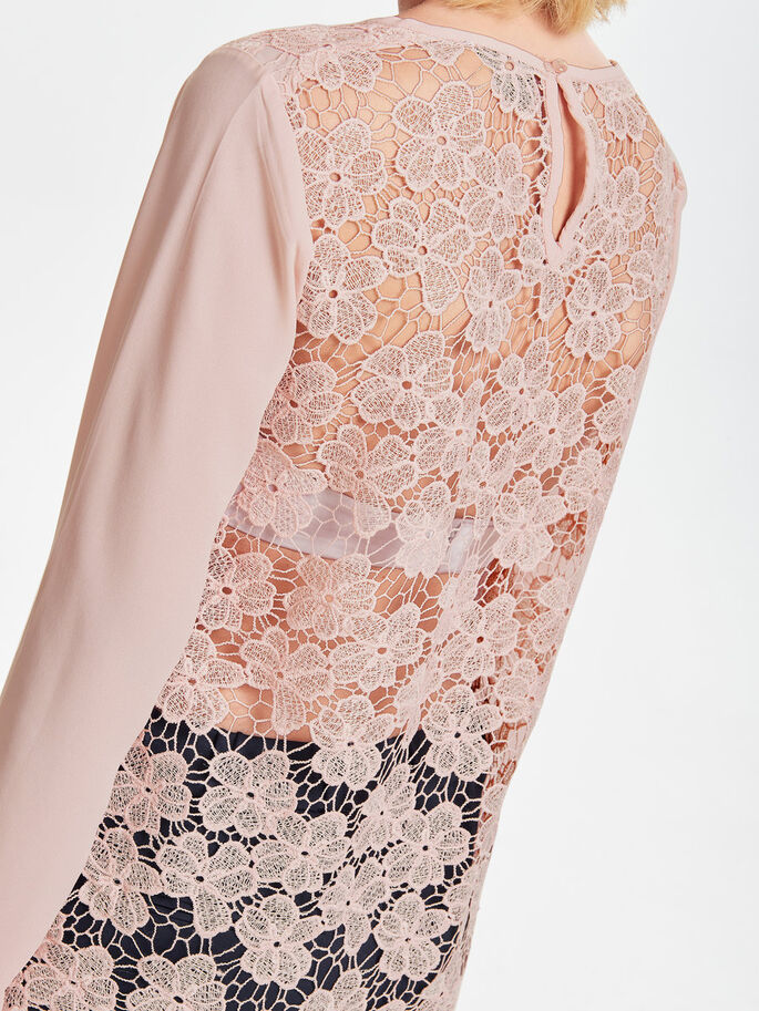 LACE LONG SLEEVED TOP, Rose Smoke, large