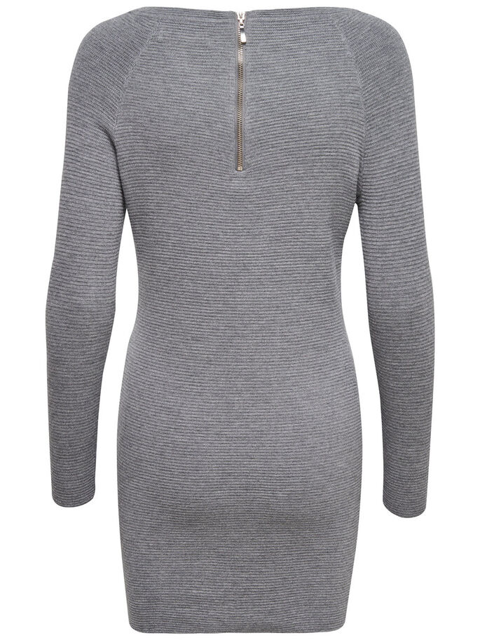 LANGE MOUW GEBREIDE JURK, Light Grey Melange, large