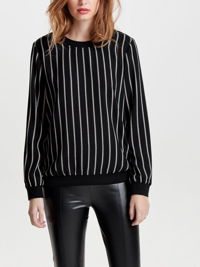 LOOSE LONG SLEEVED TOP, Black, large