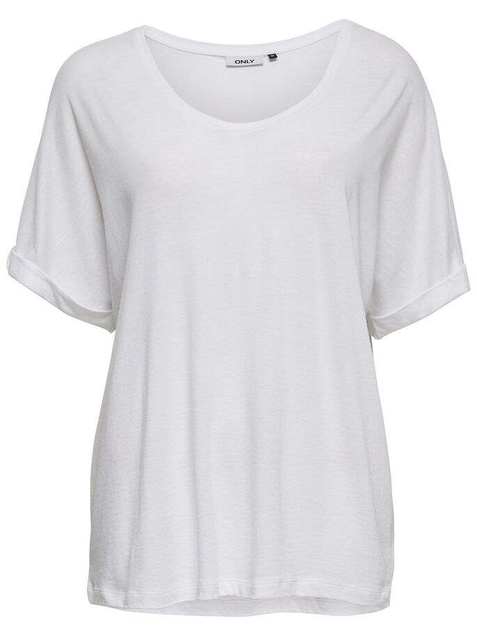 RUIMVALLENDE TOP MET KORTE MOUWEN, Bright White, large
