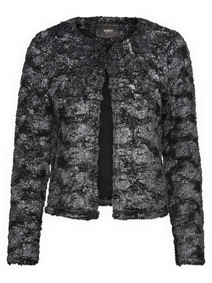 FUR LOOK JACKET, Black, large