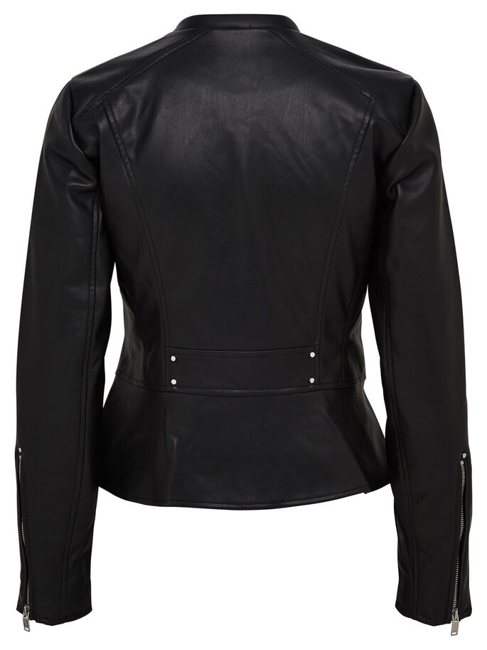 LEATHER LOOK JAKKE, Black, large