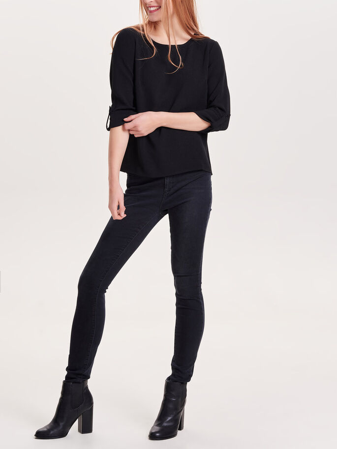 FOLD UP 3/4 SLEEVED TOP, Black, large