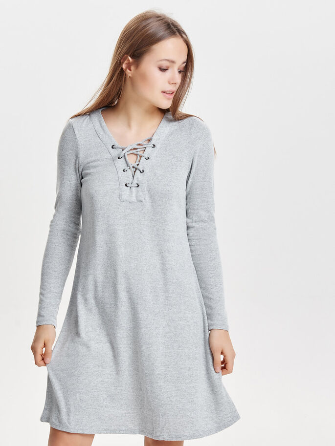 LACE-UP LONG SLEEVED DRESS, Light Grey Melange, large