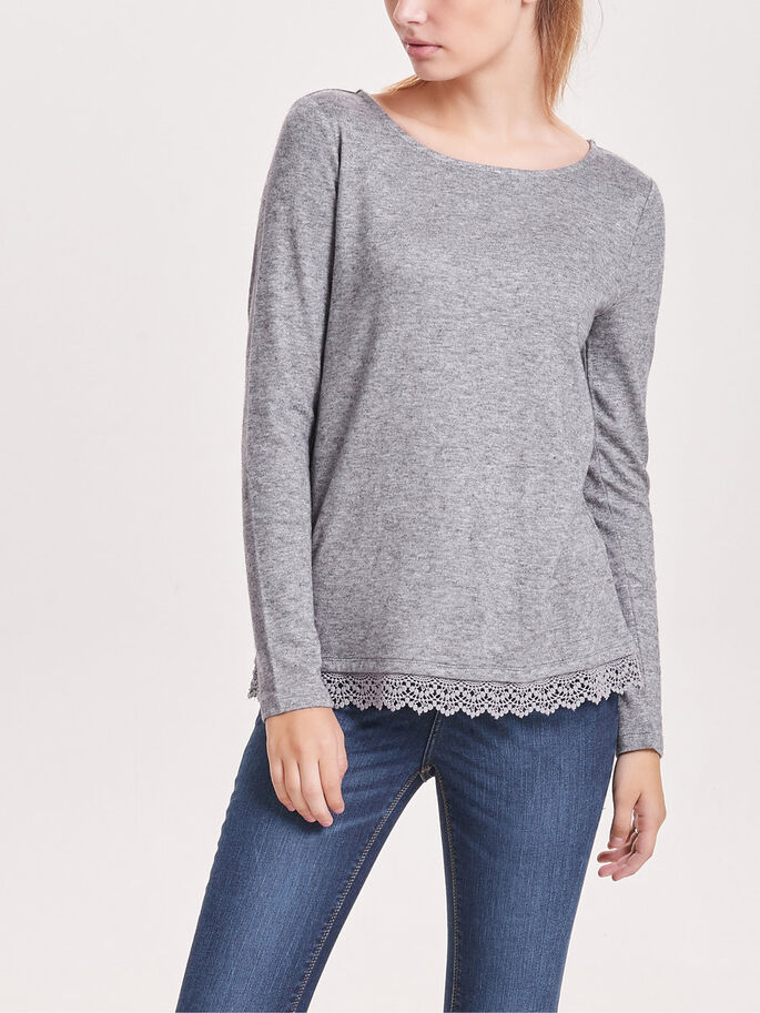BLONDE TOP MED LANGE ÆRMER, Light Grey Melange, large