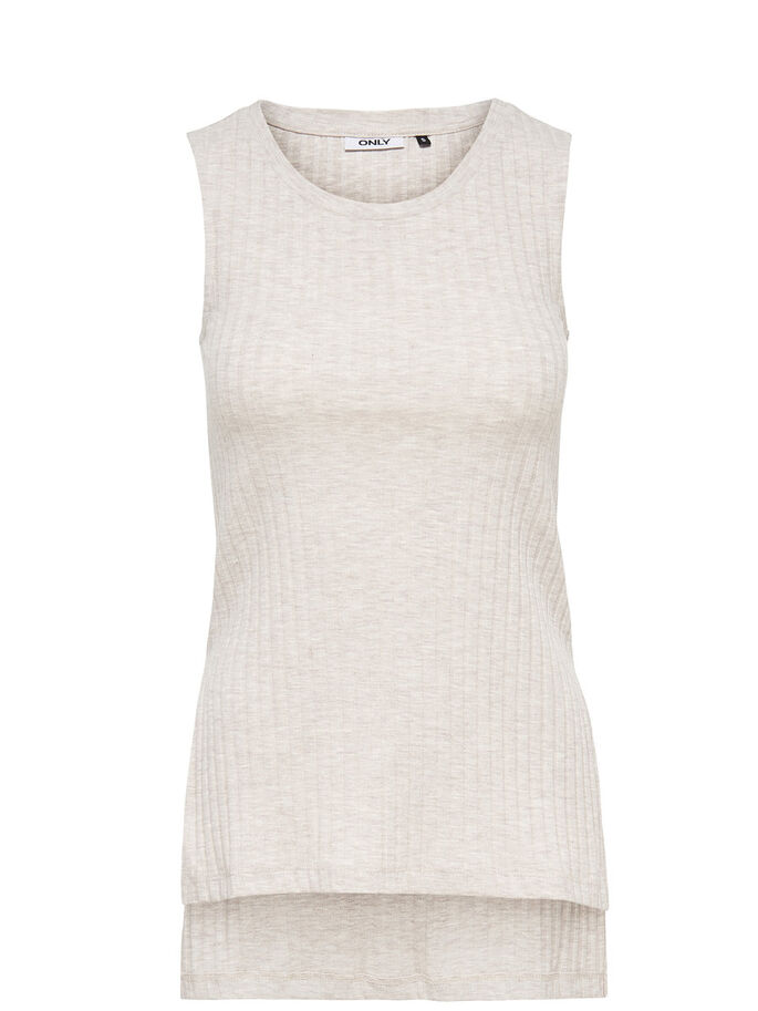 RIB SLEEVELESS TOP, Oatmeal, large
