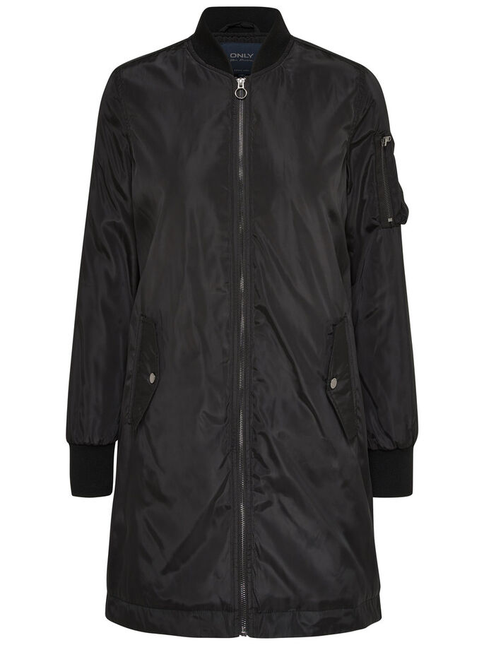 NYLON BOMBER COAT, Black, large