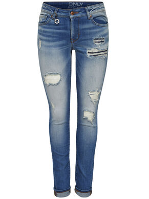 CORAL LOW DESTROYED SKINNY FIT JEANS