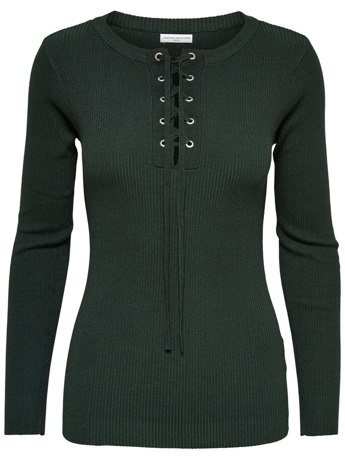 LACE-UP LONG SLEEVED TOP, Scarab, large