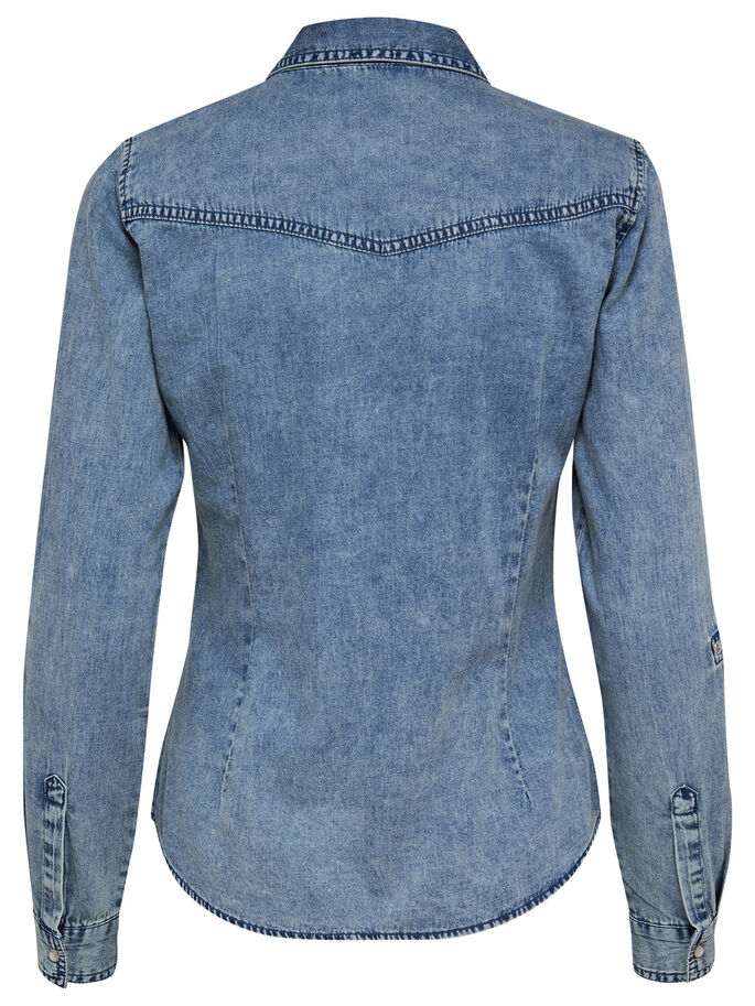 DENIM OVERHEMD MET LANGE MOUWEN, Medium Blue Denim, large