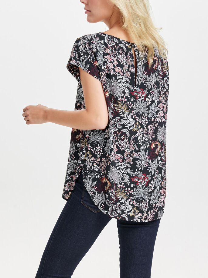 PRINT TOP MET KORTE MOUWEN, Black, large