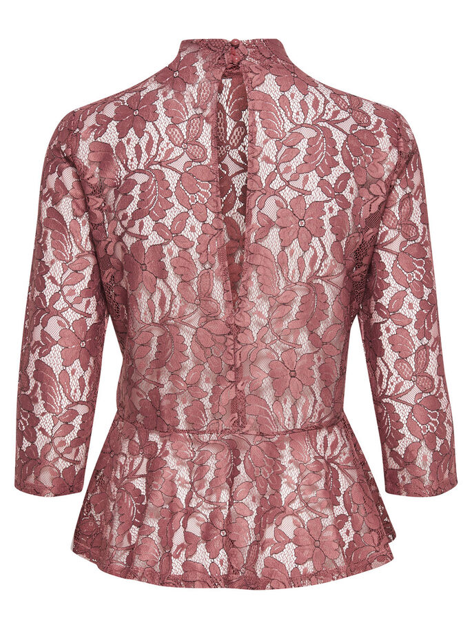 LACE 3/4 SLEEVED BLOUSE, Withered Rose, large