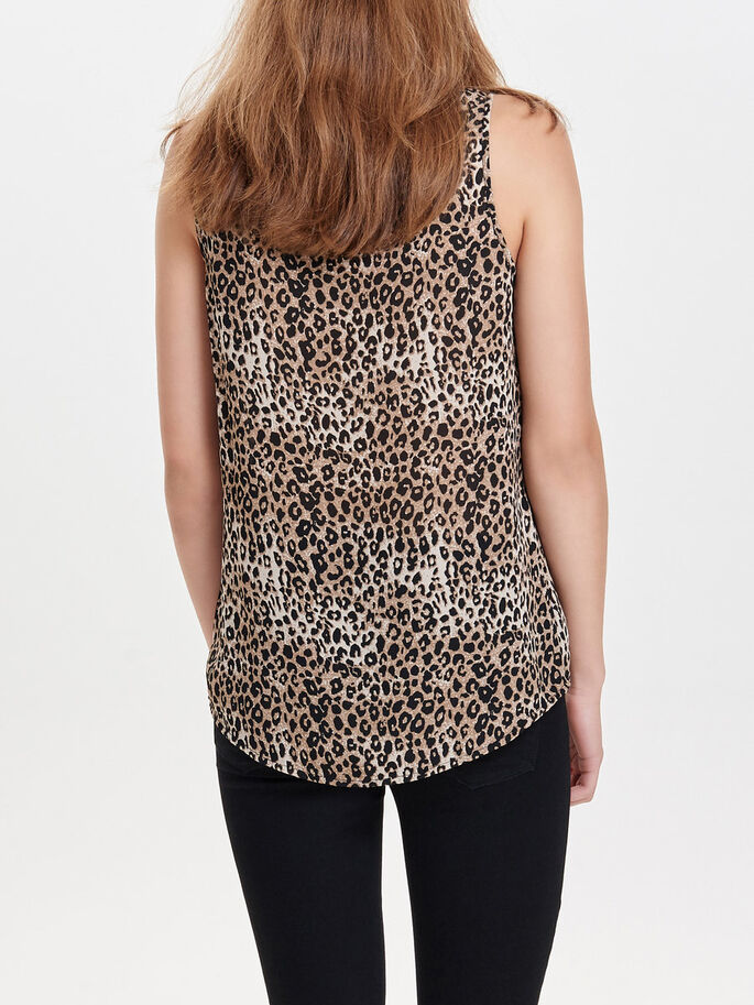 PRINTED SLEEVELESS TOP, Black, large