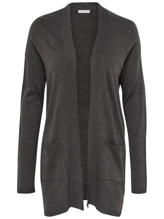 LØS KNITTED CARDIGAN, Dark Grey Melange, large