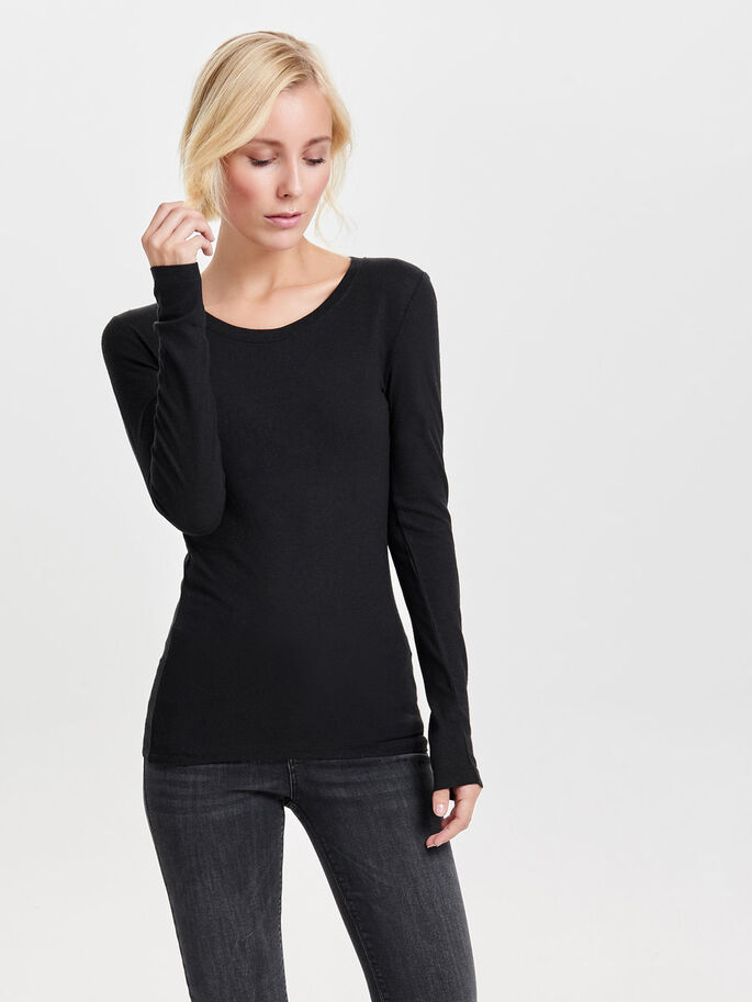 LONG SLEEVED T-SHIRT, Black, large