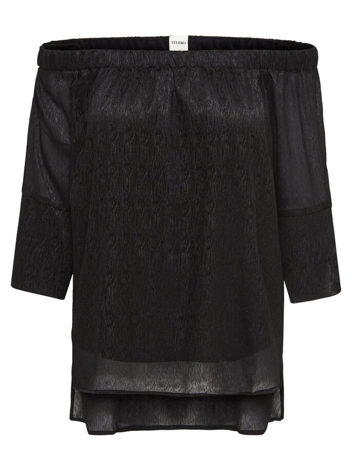 OFF-SHOULDER- OBERTEIL MIT 3/4-ÄRMELN, Black, large