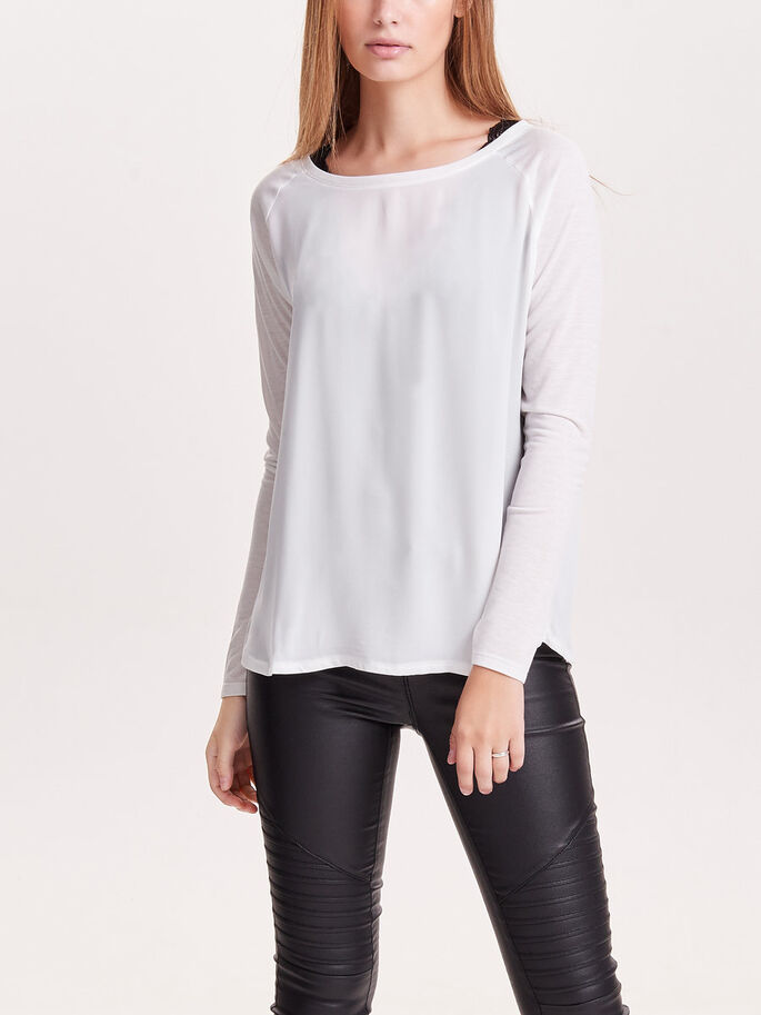 MIX LONG SLEEVED TOP, Cloud Dancer, large