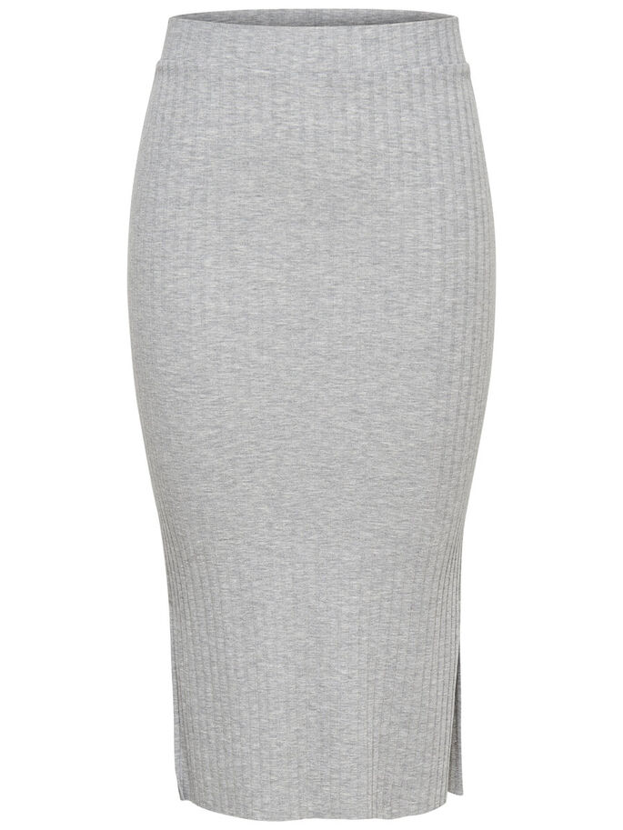 RIBB MIDISKJØRT, Light Grey Melange, large