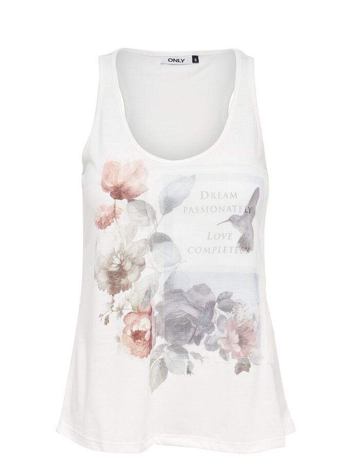 PRINTED SLEEVELESS TOP, Cloud Dancer, large