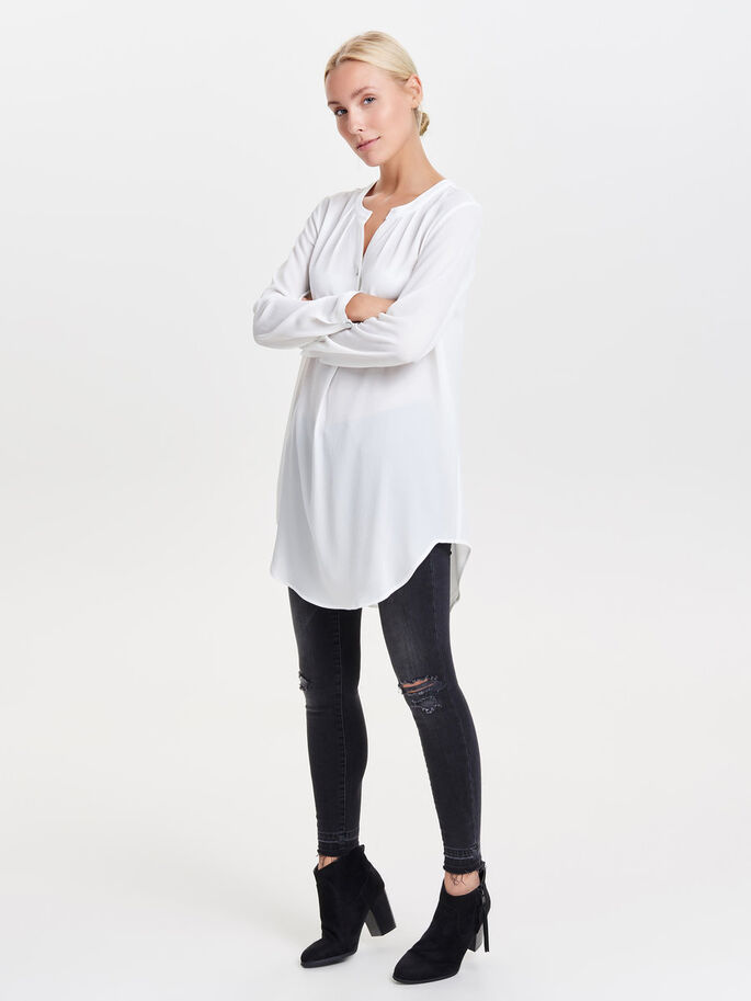 LONG LOOSE TUNIC, Cloud Dancer, large