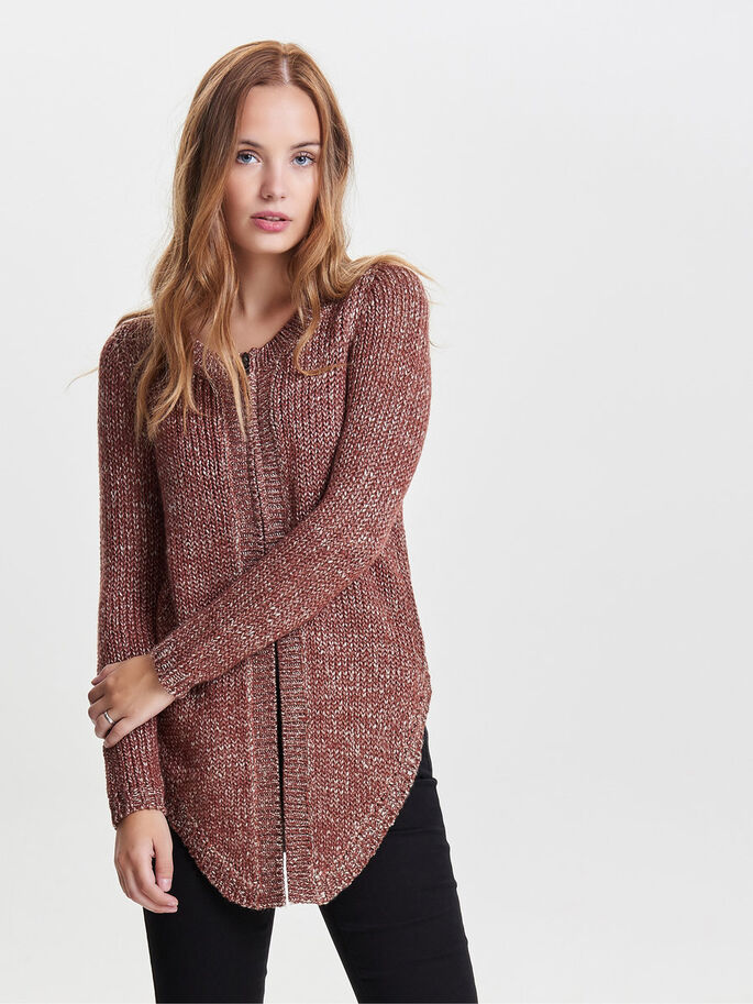 ZIP KNITTED CARDIGAN, Henna, large
