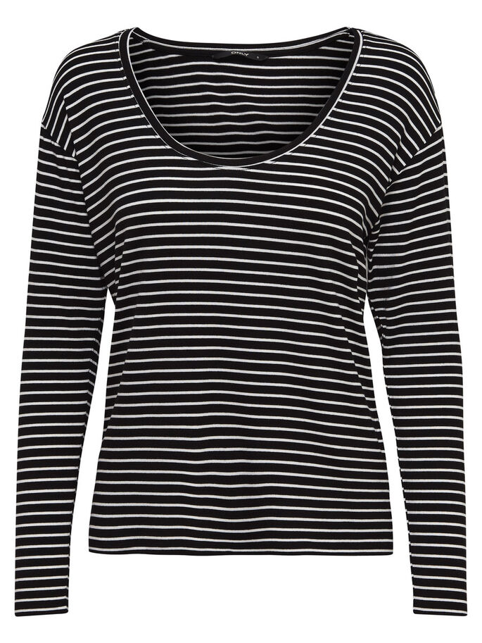 DE RAYAS TOP DE MANGA LARGA, Black, large