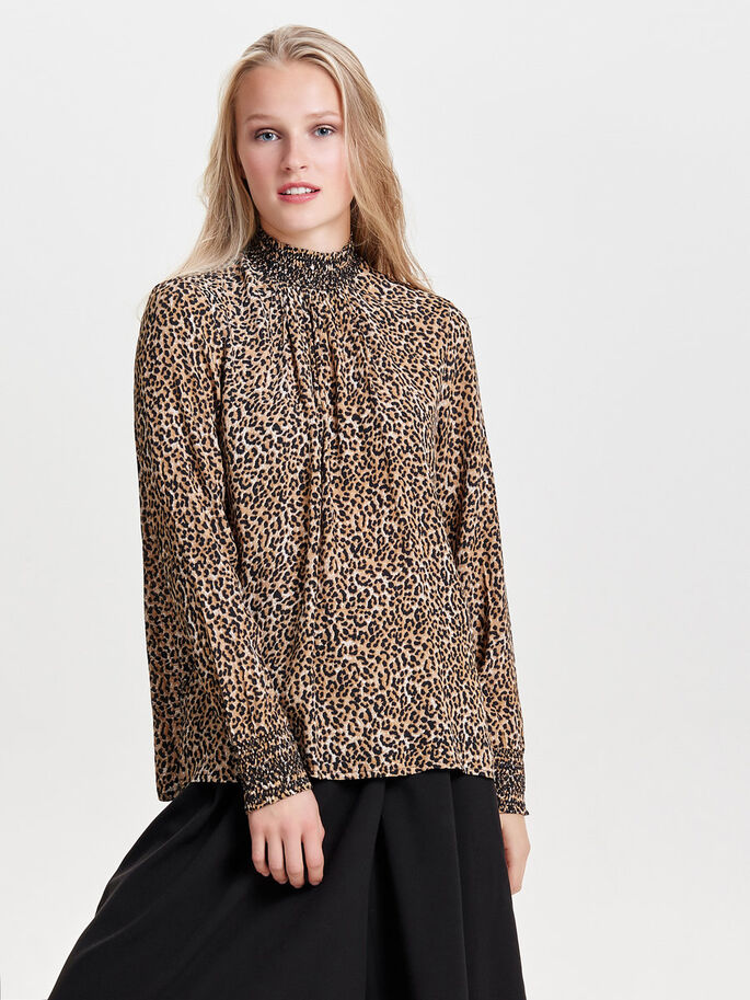 PRINTED LONG SLEEVED TOP, Deep Taupe, large