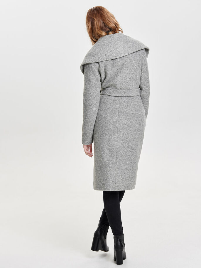 DRAPY COAT, Light Grey Melange, large