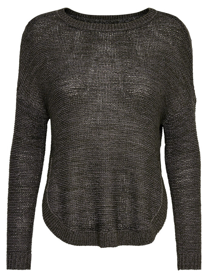 LOOSE FIT STICKAD TRÖJA, Dark Grey Melange, large