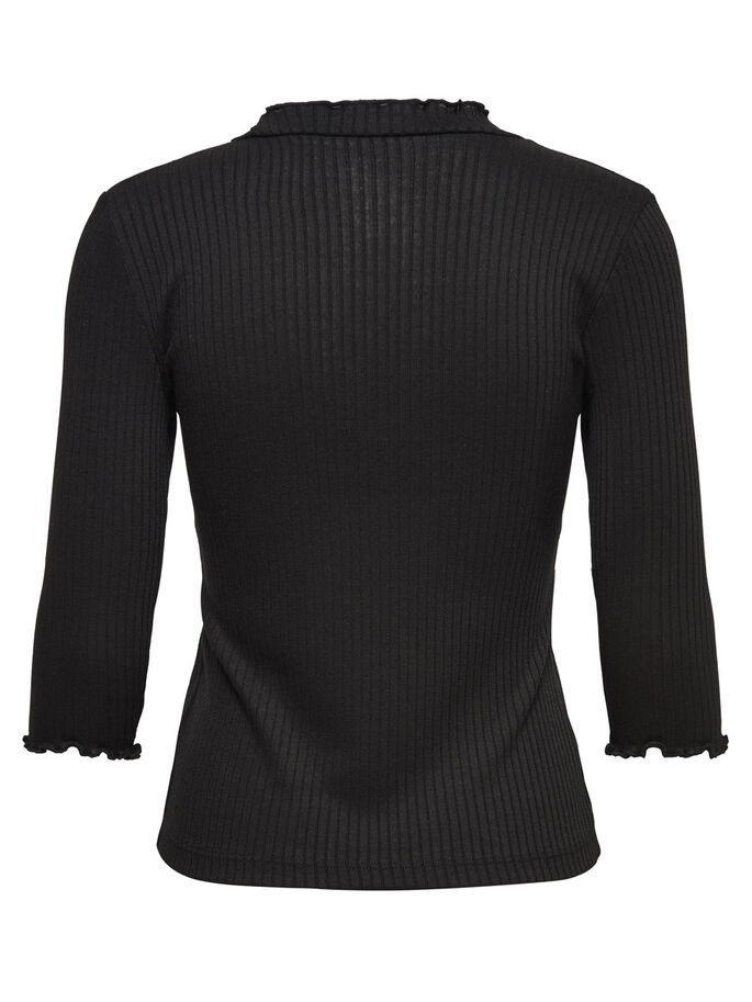 MAILLE TOP MANCHES 3/4, Black, large