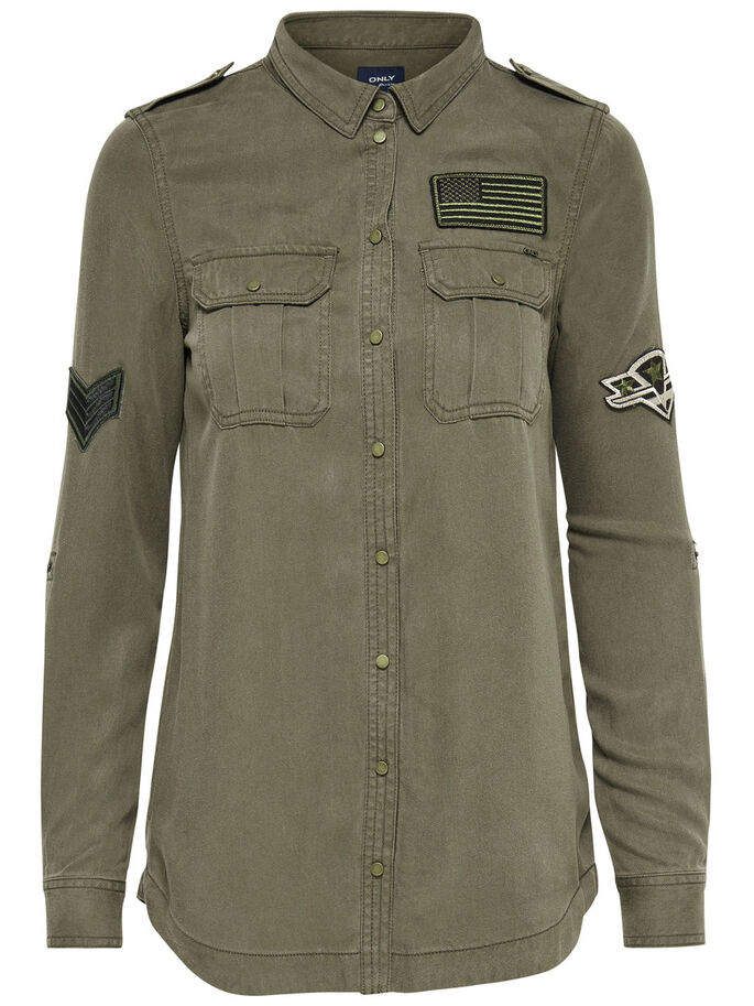 PATCH LONG SLEEVED SHIRT, Tarmac, large