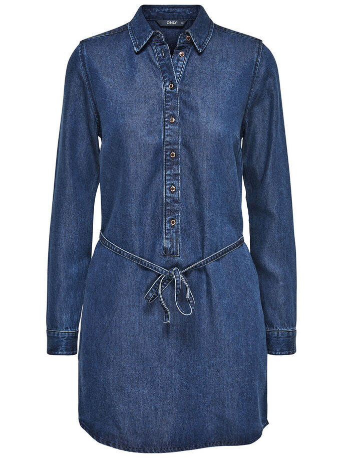 LÅNG JEANSSKJORTA, Medium Blue Denim, large